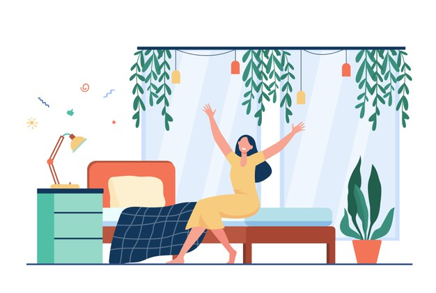 happy-woman-waking-up-morning-person-sitting-bed-stretching-arms_74855-10818